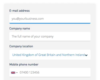 SMS platform registratie