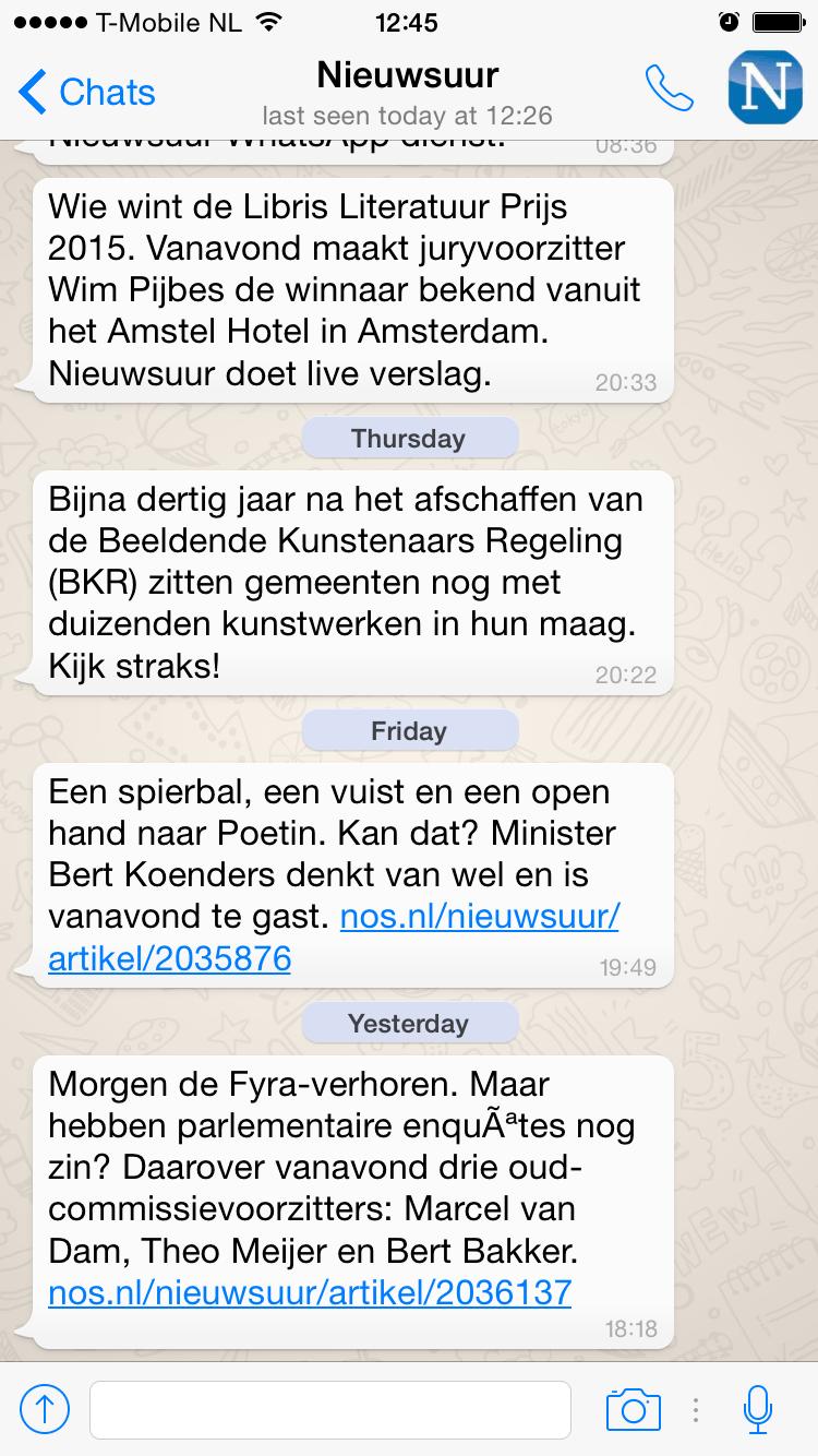Nieuwsuur via WhatsApp