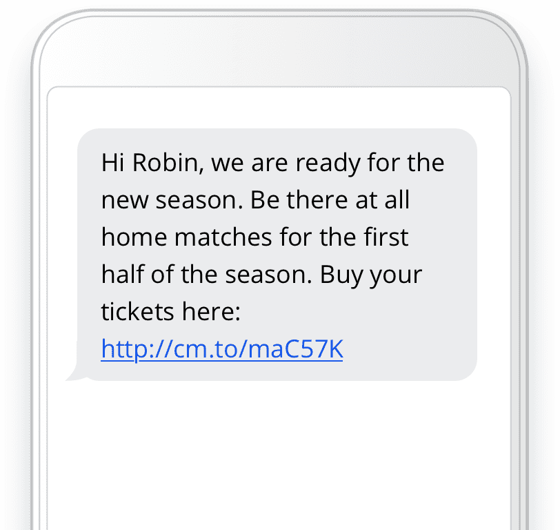 Personalized message sports
